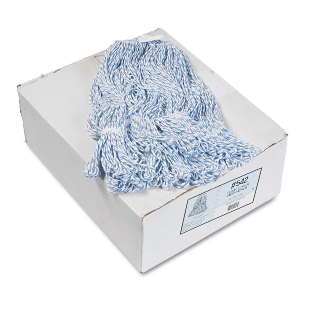 Boardwalk Rayon/Polyester Floor Finish String Mop Mop Head, Narrow, Medium, White/Blue, (12-Carton), White/Blue Stripes -  BWK542CT
