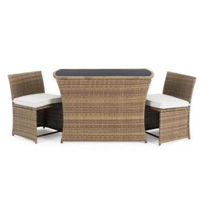 Exum Brown 3-Piece Wicker Outdoor Dining Set with Beige Cushions