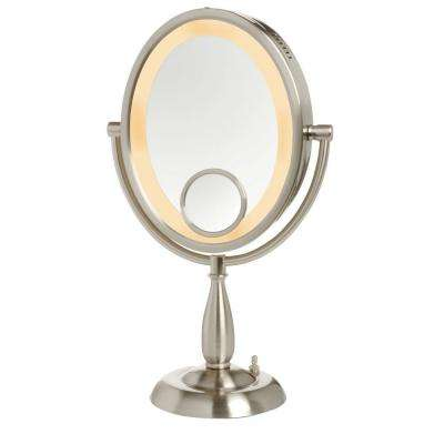 10X Lighted 10 in. W x 17.5 in. L Single Table Top Makeup Mirror in Nickel