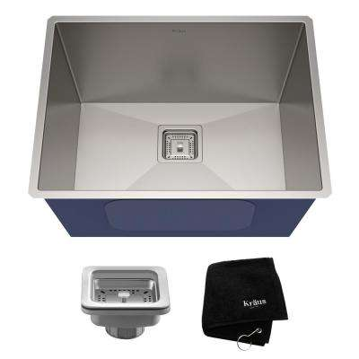Pax Zero-Radius 24in. 18 Gauge Undermount Single Bowl Stainless Steel Laundry and Utility Sink