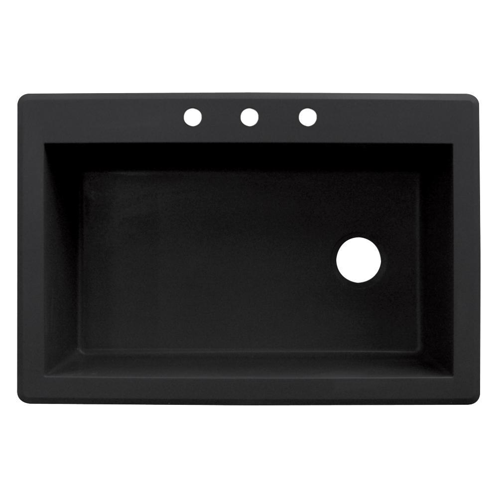 transolid radius drop in granite 33 in  3 hole single bowl kitchen sink transolid radius drop in granite 33 in  3 hole single bowl kitchen      rh   homedepot com