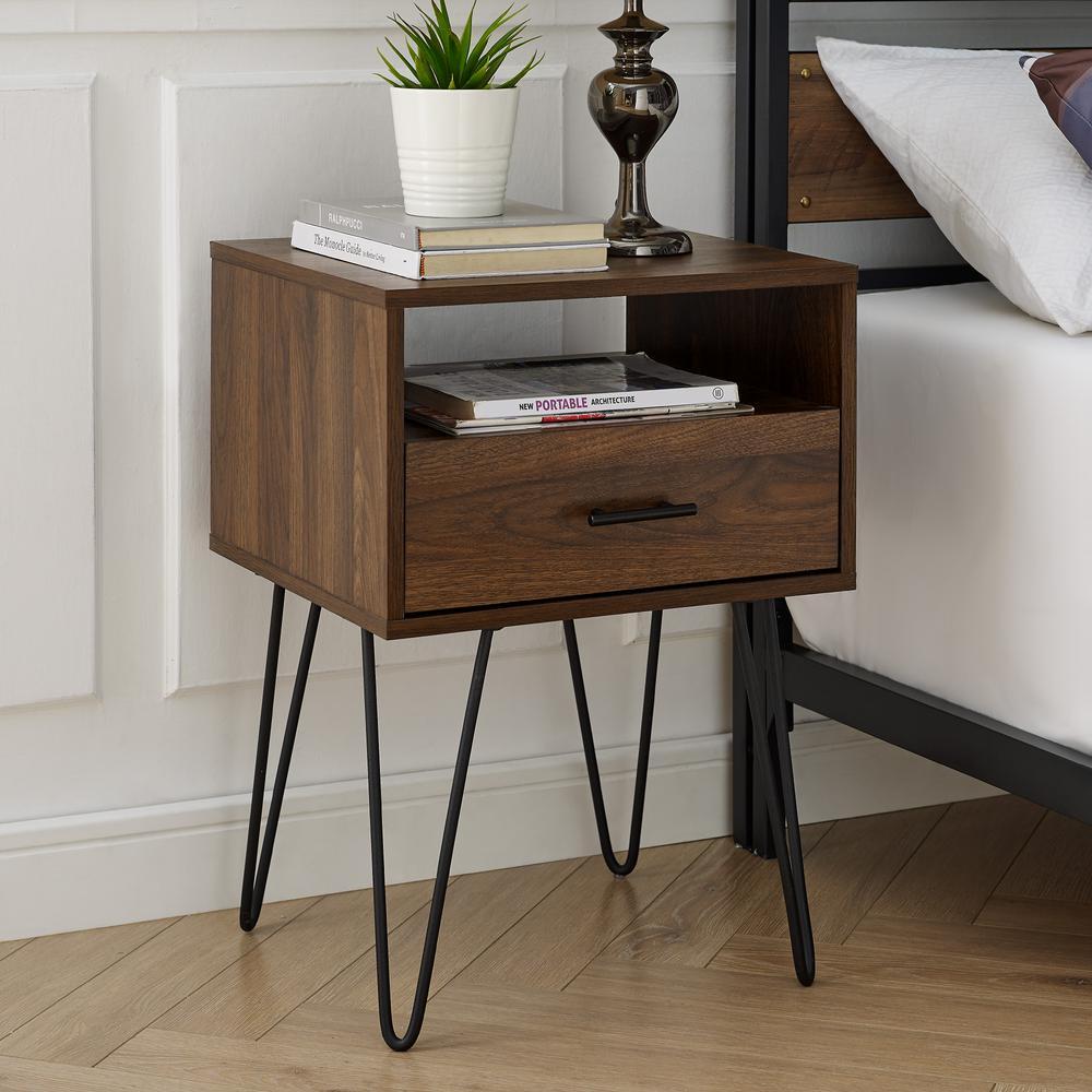 quality design bbe15 9c3dd Welwick Designs Modern Dark Walnut 1-Drawer Hairpin Leg Side ...