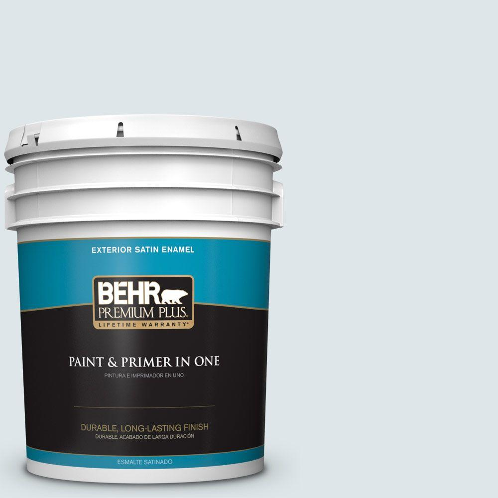 BEHR Premium Plus 5-gal. #BL-W3 Blue Bird Day Satin Enamel Exterior Paint