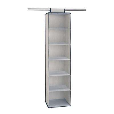 12 in. W x 48 in. H 6-Shelf Storage Hanging Organizer in Light Gray