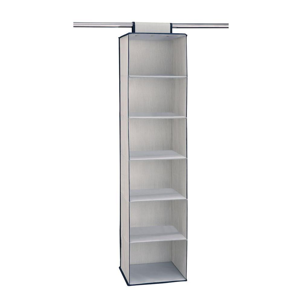 12 in. W x 48 in. H 6-Shelf Storage Organizer in Light Gray