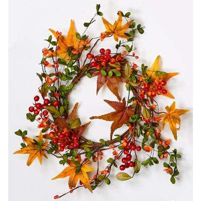 6.5 in. x 12 in. O.D. Fall Berry and Leaf Candle Ring/Wreath