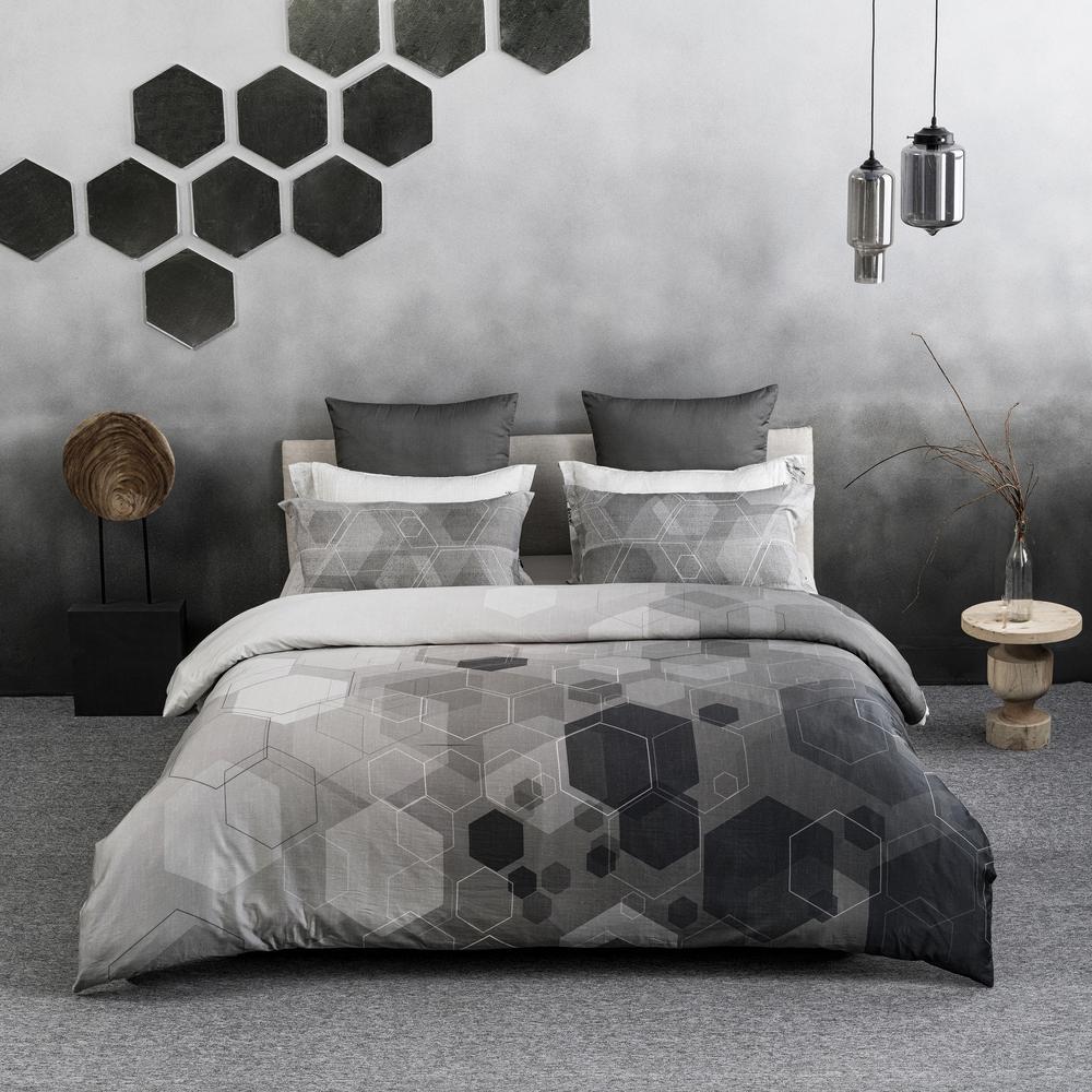 Hexad Wrinkle Resistant Reversible Print 100% Organic Cotton Black and White King Duvet Cover Set