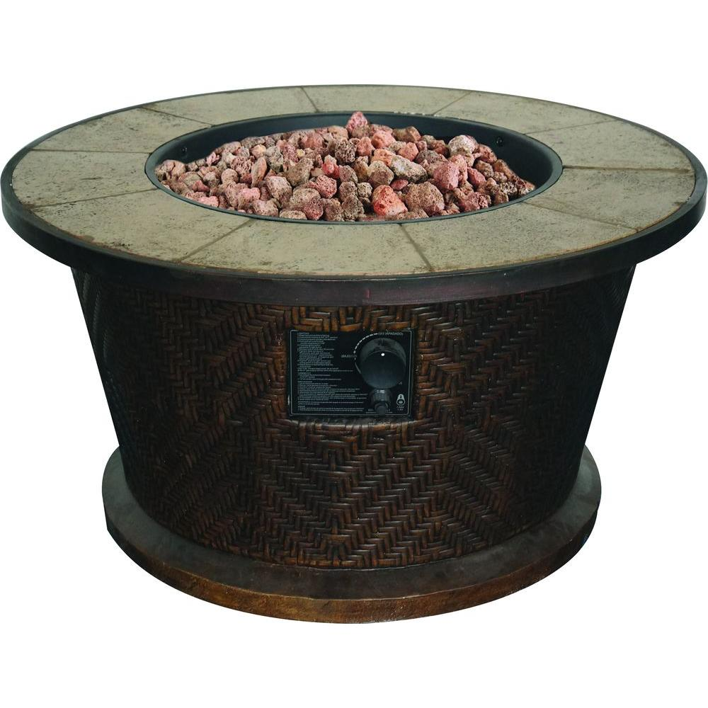Gentil Tall Portofino Round Stainless Steel Gas Table Fire Pit