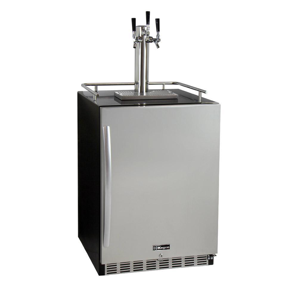 Digital Undercounter Full Size Beer Keg Dispenser with X-CLUSIVE Triple Tap Premium Direct Draw Kit
