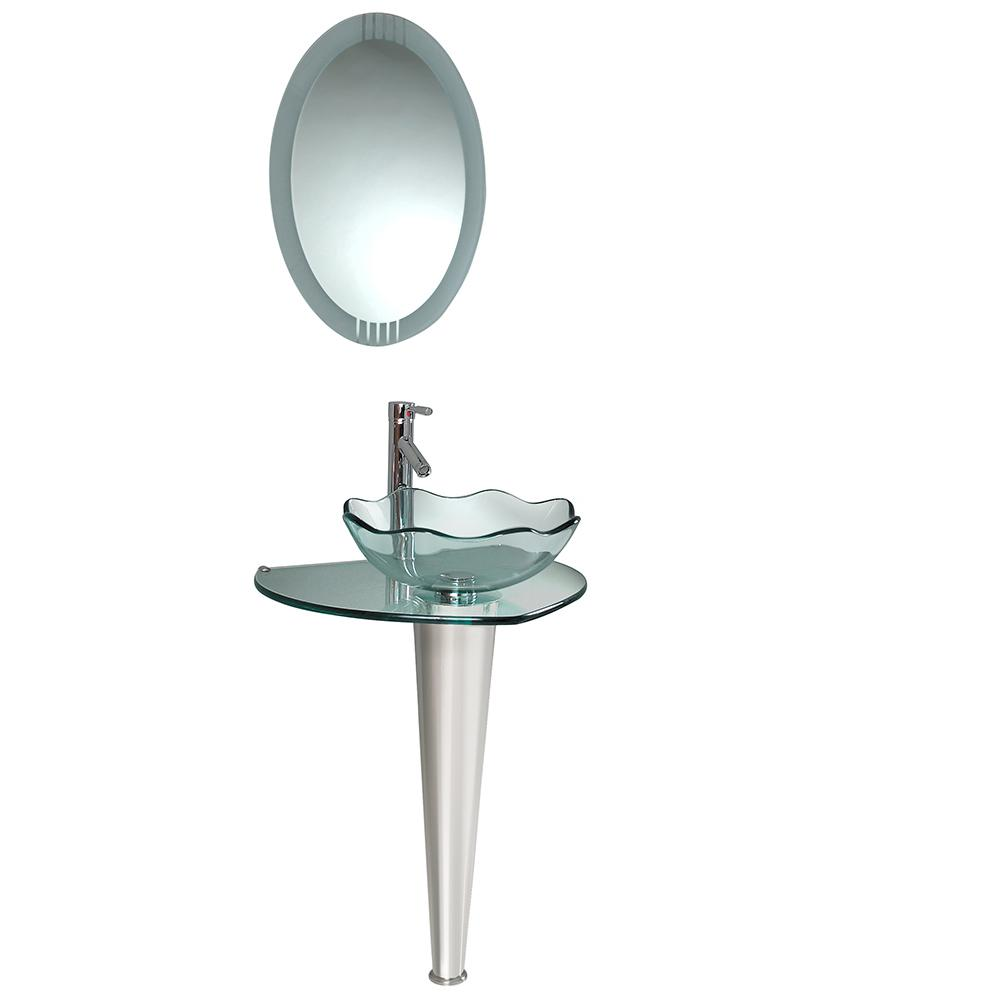 sink netto b the pedestal bathroom combos bath home depot in vessel with n wavy chrome edge mirror basin fresca sinks glass
