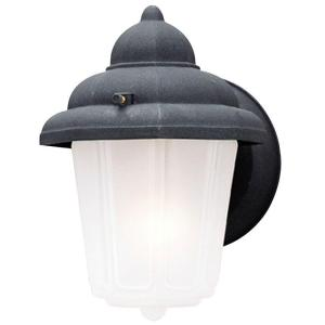 1 Light Textured Black On Cast Aluminum Exterior Wall Lantern With Frosted Glass