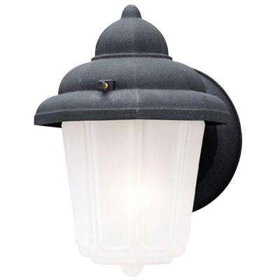 1-Light Textured Black on Cast Aluminum Exterior Wall Lantern Sconce with Frosted Glass