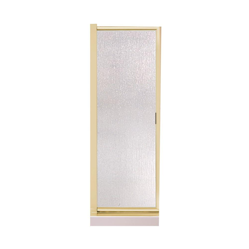 MAAX 24.5 in. to 26.5 in. Swing-Open Shower Door in Polished Brass with Rain Glass-DISCONTINUED