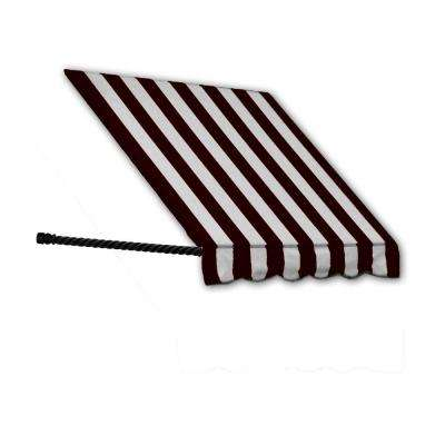 4 ft. Santa Fe Twisted Rope Arm Window Awning (44 in. H x 24 in. D) in Black/White Stripe