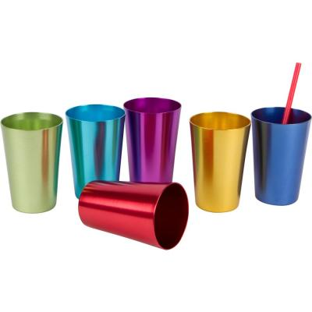 Retro 6-Piece Aluminum Tumblers Assorted Colors
