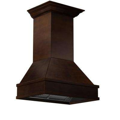 30 in. 900 CFM Wooden Wall Mount Range Hood in Walnut and Hamilton