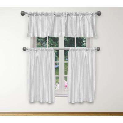 Phoebe Kitchen Valance in White-Silver - 15 in. W x 58 in. L (3-Piece)
