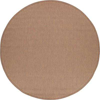 Recife Saddle Stitch Cocoa-Natural 8 ft. x 8 ft. Round Indoor/Outdoor Area Rug