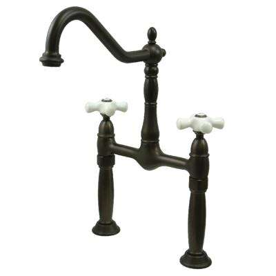 Victorian Double Hole 2-Handle Vessel Bathroom Faucet in Oil Rubbed Bronze