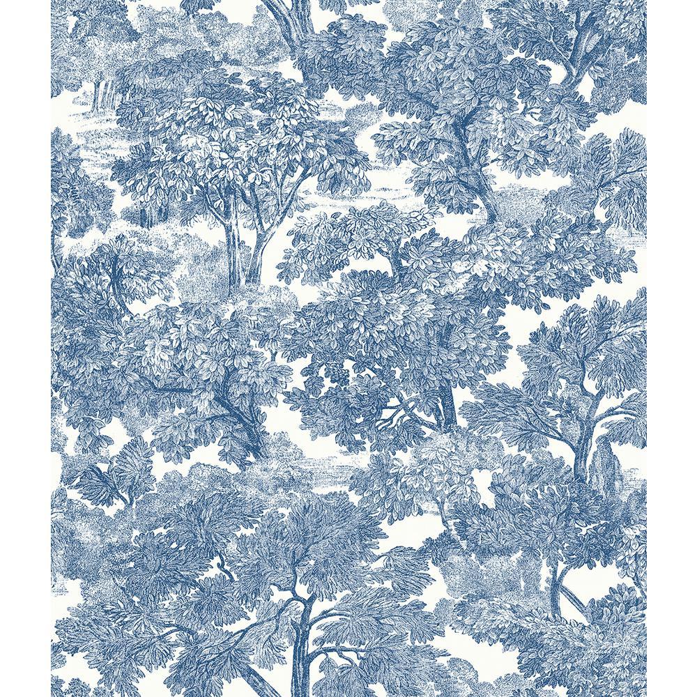 56.4 sq. ft. Spinney Blue Toile Wallpaper