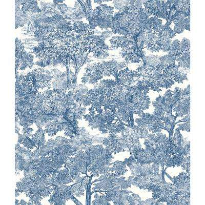 Spinney Blue Toile Blue Wallpaper Sample