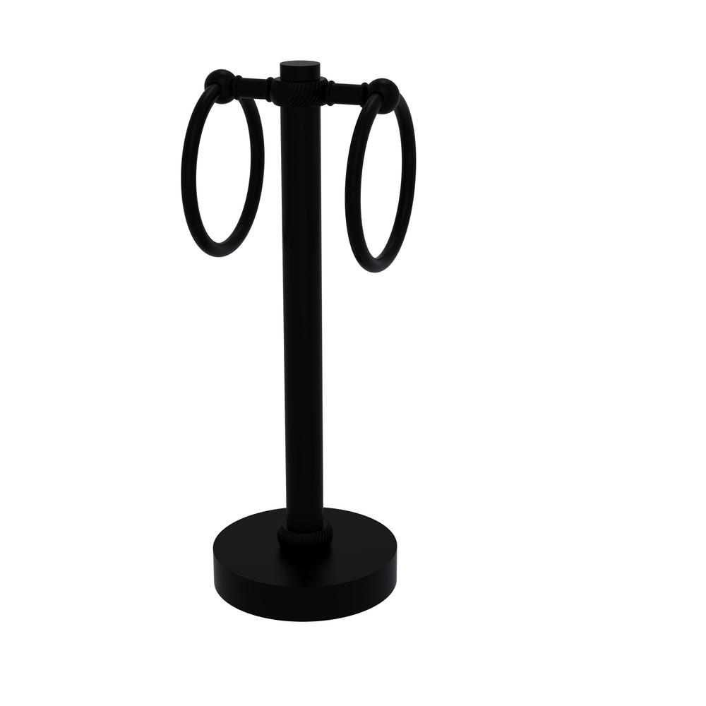 Allied Brass Vanity Top 2 Towel Ring Guest Towel Holder with Twisted Accents in Matte Black