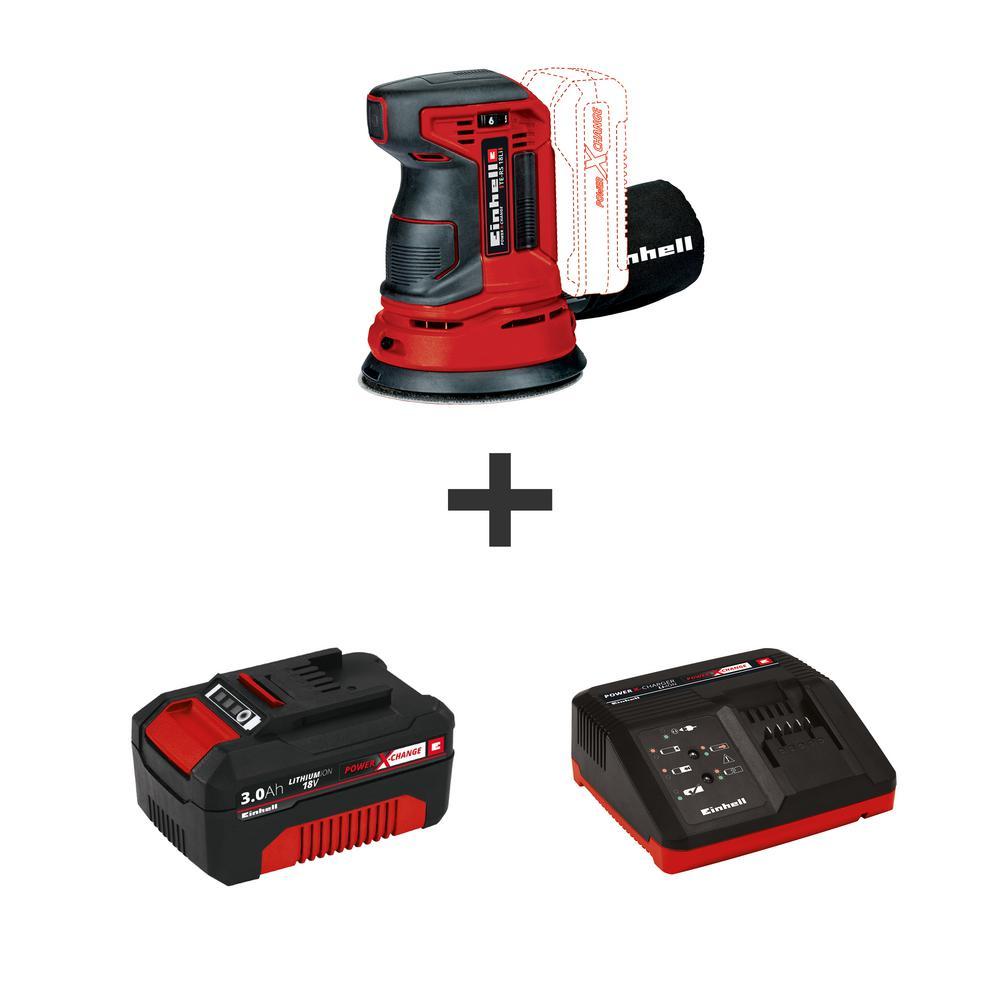 Einhell 18-Volt Power X-Change Cordless 5 inch Random Orbital Sander Kit w/ 3.0 Ah Battery and Fast Charger