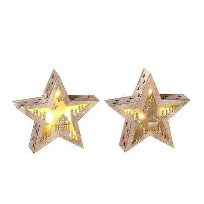 S/2 8 in. H Lighted Wood Winter Stars