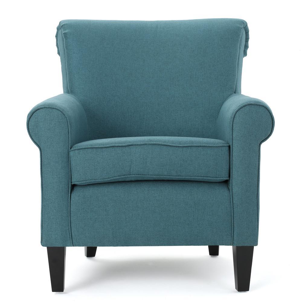 Noble house roseville dark teal fabric club chair 300163 - Dark teal accent chair ...