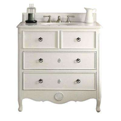 Provence 34 in. W x 21 in. D Bath Vanity in Antique White with Marble Vanity Top in White with White Basin