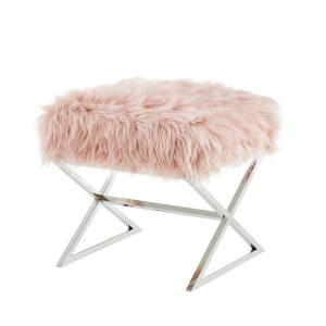 Surprising Inspired Home Elora Rose Chrome Upholstered X Leg Faux Fur Alphanode Cool Chair Designs And Ideas Alphanodeonline