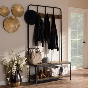 Prime Baxton Studio Hull Black Metal And Brown Wood Entryway Hall Dailytribune Chair Design For Home Dailytribuneorg