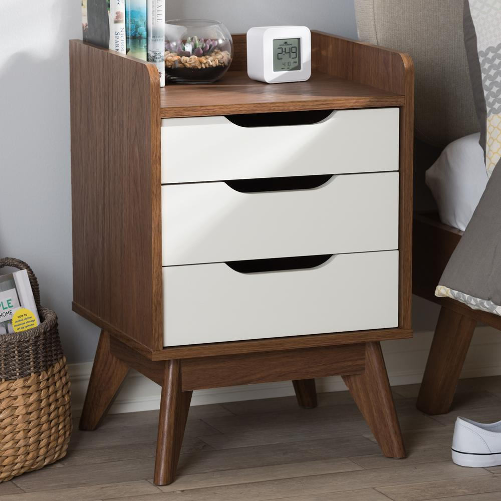 Brighton 3-Drawer White Nightstand