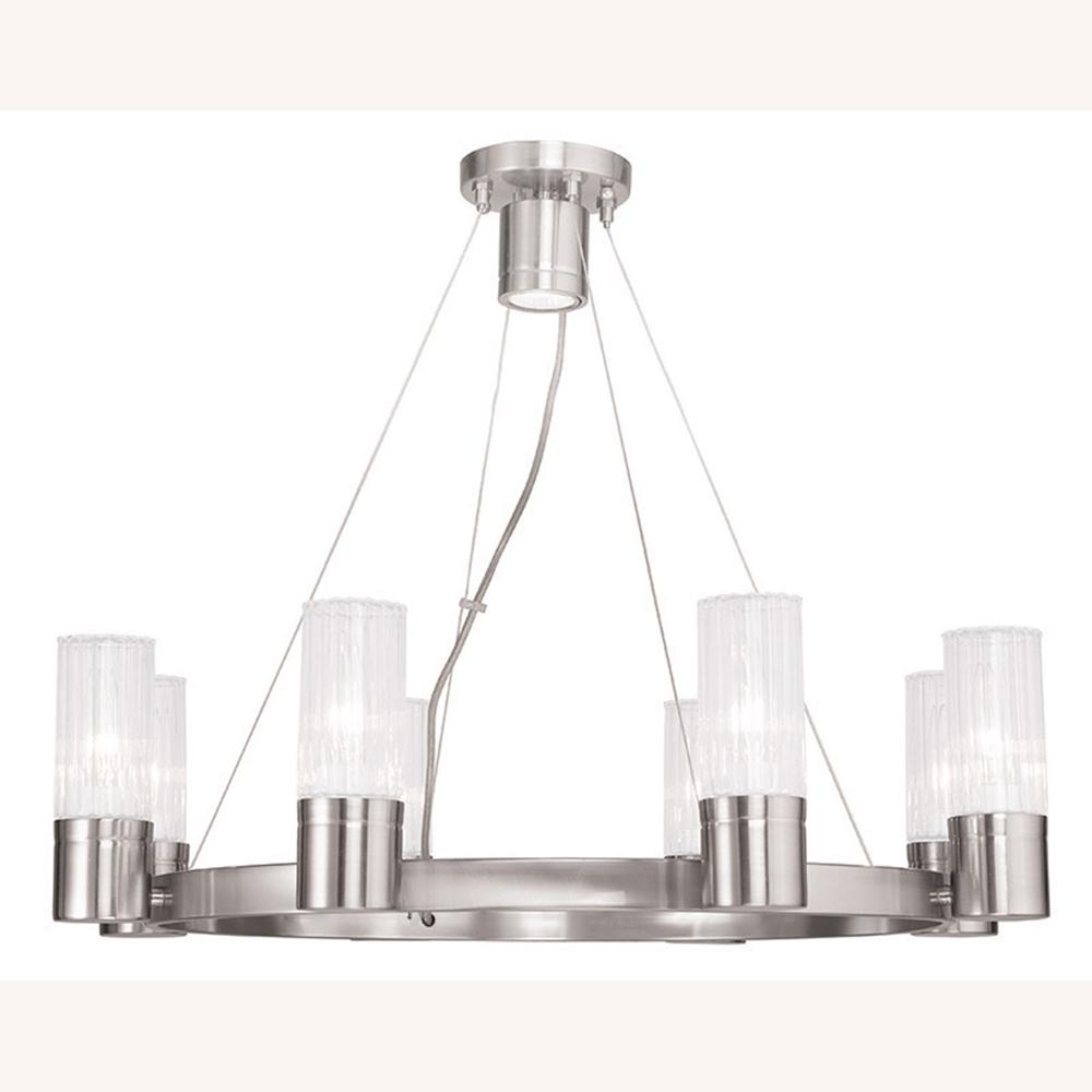 Midtown 8-Light Brushed Nickel Chandelier with Hand Crafted Clear Fluted Glass