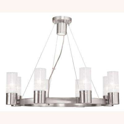 Midtown 9-Light Brushed Nickel Chandelier with Hand Crafted Clear Fluted Glass Shades