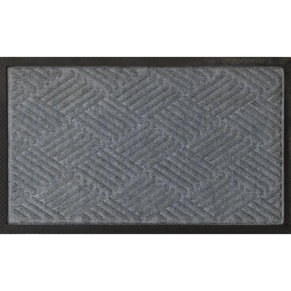 Ribbed Carpet Natural Rubber Door Mat  sc 1 st  The Home Depot & Ottomanson Silver 24 in. x 36 in. Ribbed Carpet Natural Rubber Door ...