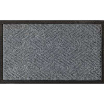 Silver 24 in. x 36 in. Ribbed Carpet Natural Rubber Door Mat