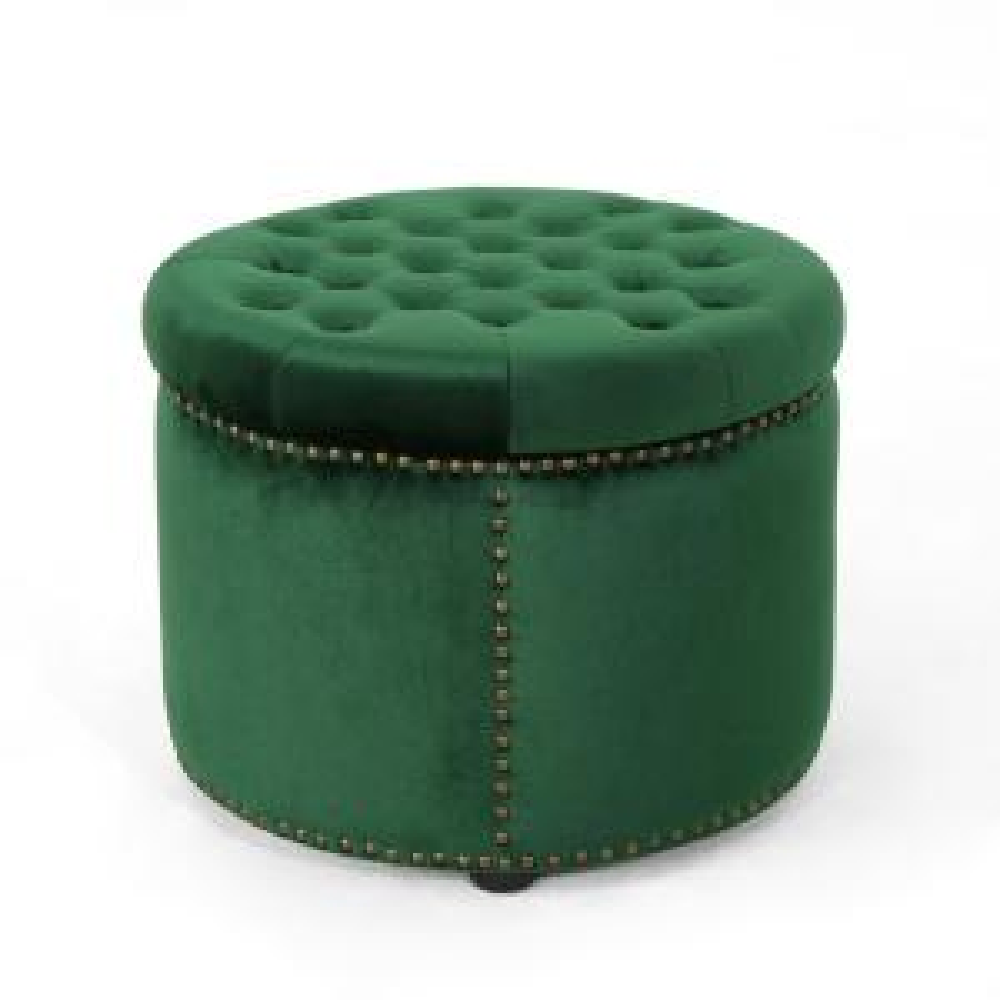 Noble House Tiernan Glam Round Tufted Emerald Velvet Ottoman Deals