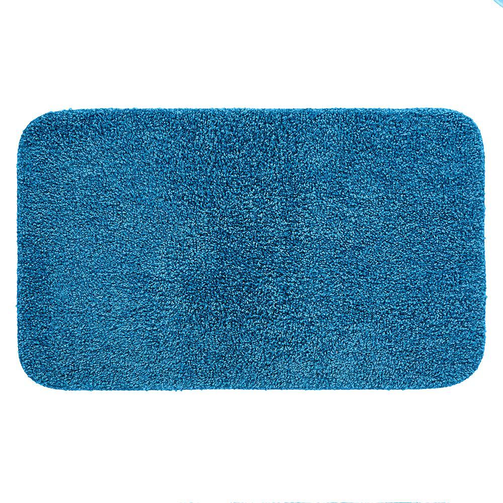 Basic Bath 19.5 in. x 32 in. Nylon Bath Mat in French Blue