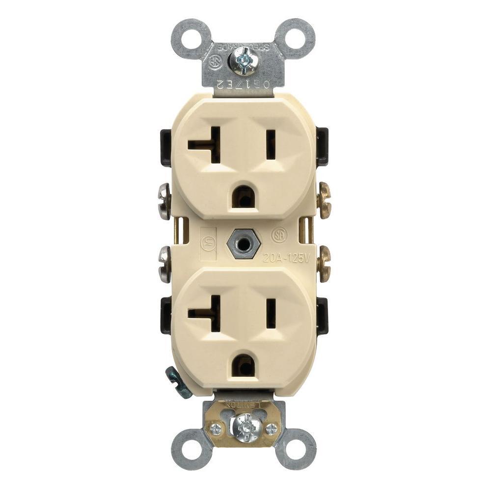 20 Amp Commercial Grade Duplex Outlet, Ivory