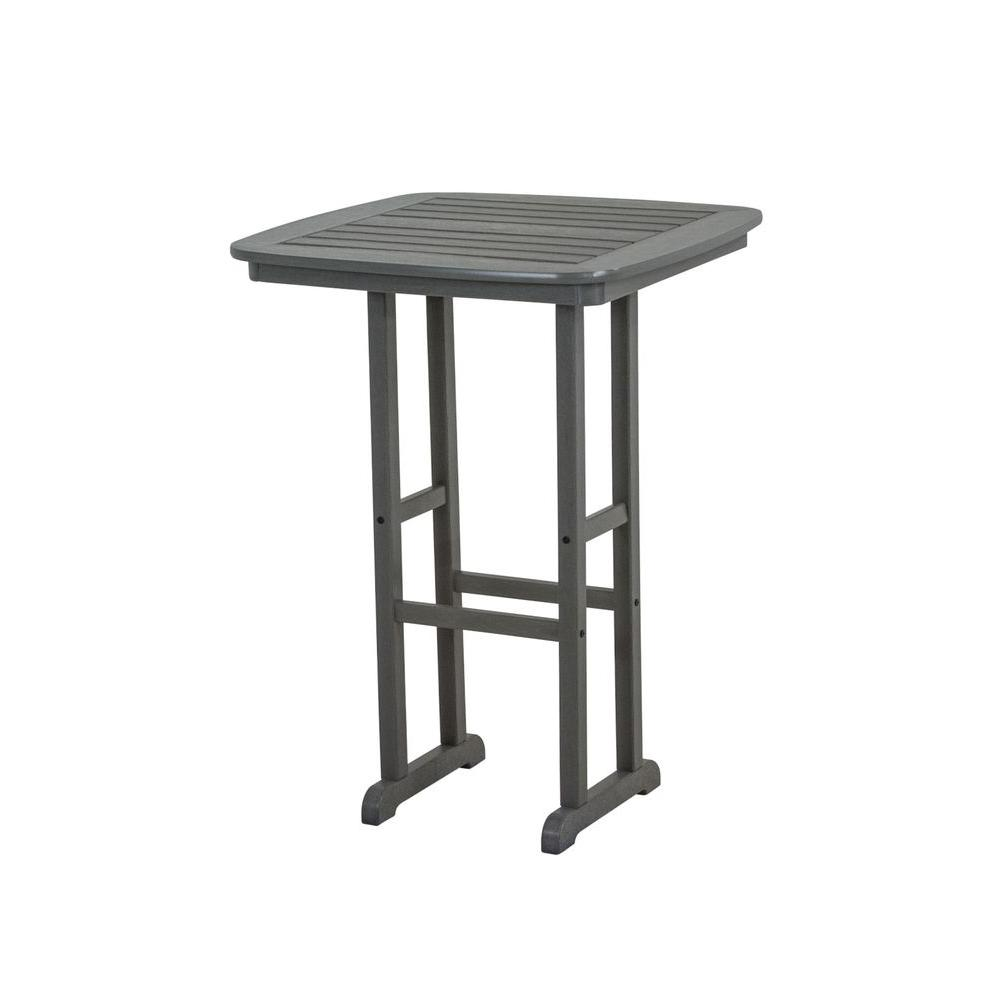Nautical Slate Grey 31 in. Plastic Outdoor Patio Bar Table