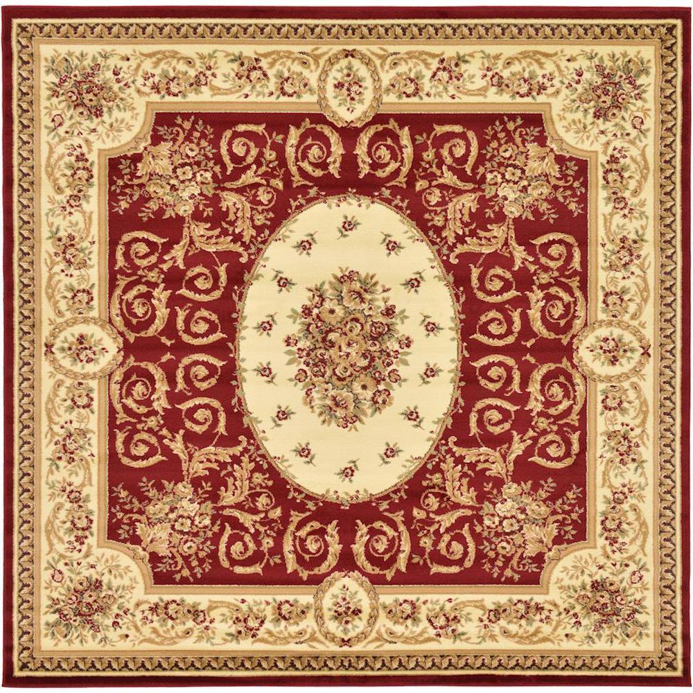 Versailles Phillipe Red 8' 0 x 8' 0 Square Rug