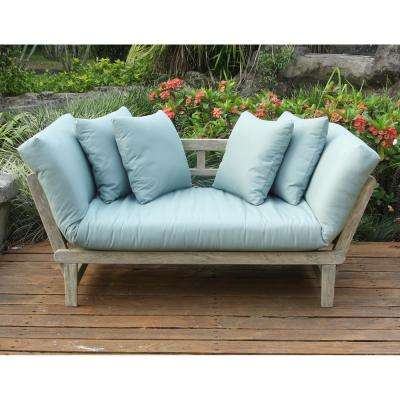 Tulle Wood Outdoor Convertible Sofa Daybed with Blue Cushion