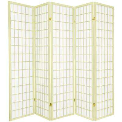6 ft. Ivory Window Pane 5-Panel Room Divider