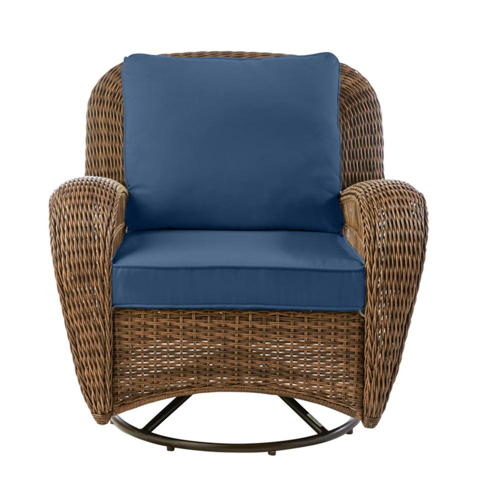 Hampton Bay Beacon Park Brown Wicker Outdoor Patio Swivel Lounge Chair with CushionGuard Sky Blue Cushions was $349.0 now $272.22 (22.0% off)