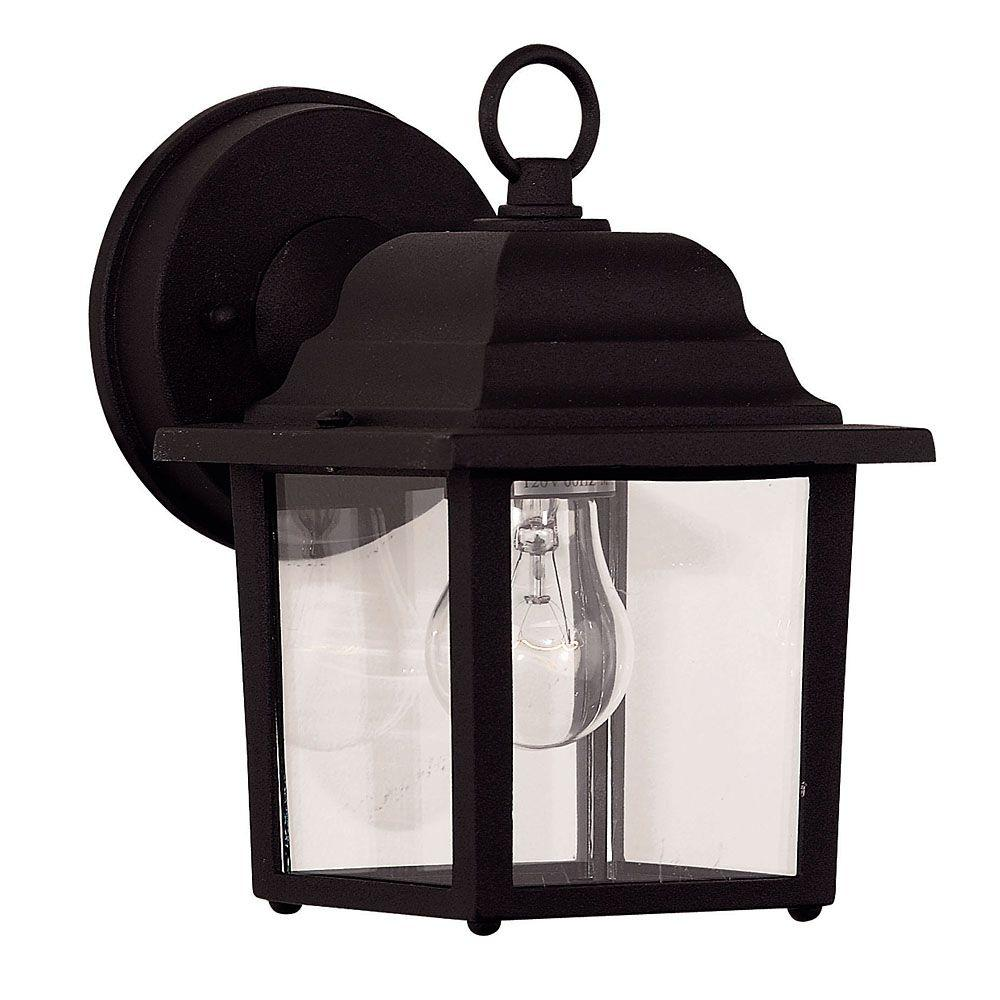 Illumine 1-Light Black Wall Mount Lantern with Clear Glass