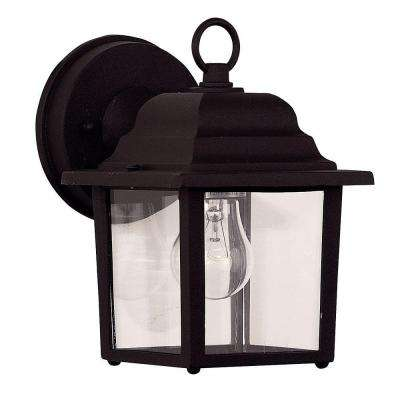 1-Light Black Wall Mount Lantern with Clear Glass