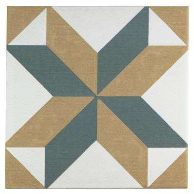 Revival Pattern Encaustic 7-3/4 in. x 7-3/4 in. Ceramic Floor and Wall Tile