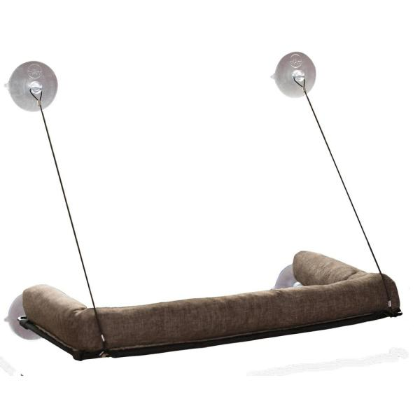 Medium Chocolate EZ Mount Kitty Sill Deluxe with Bolster Bed 12'' x 23''
