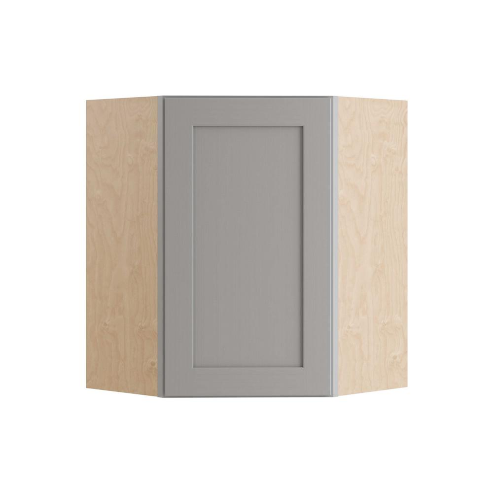 Diagonal Corner Wall Kitchen Cabinet With 1 Soft Close Door Left Hand In Pearl Gray